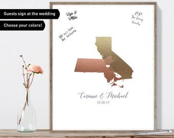 Wedding Guest Book, Personalized Wedding Sign, Faux Metallic Guest Book Map, Custom Guestbook Canvas, Unique Guest Book Gift Idea