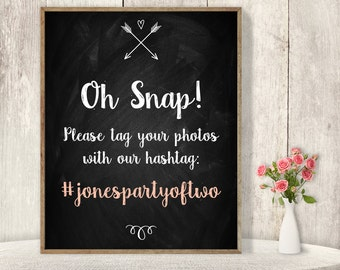 Wedding Hashtag Sign / Instagram Sign / Rustic Chalkboard, Arrow, Heart, Chalk Lettering ▷ Printable File {or} Printed & Shipped