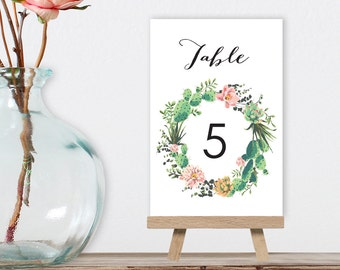 Cactus Table Numbers, Wedding Table Name 5x7s for Fiesta Destination Wedding, Cactus Succulent > PRINTED Table Number Cards, Double-Sided