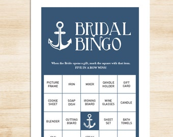 Bridal Shower Bingo Game DIY // Anchor on Navy, Nautical Shower Bridal Bingo PDF // 50 Cards ▷ Instant Download