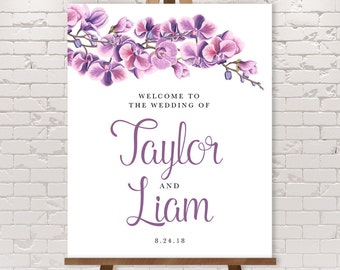 Orchid Wedding Welcome Sign / Purple Orchid, Purple Wedding, Orchid Flower ▷ Printable File {or} Printed & Shipped