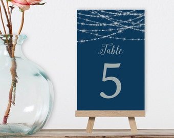 Navy Table Numbers, Wedding Table Name 5x7 for Navy and Silver Wedding, Festive Bokeh String Light > PRINTED Table Number Cards Double-Sided