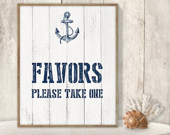 Favors, Please Take One / Wedding Reception Favor Sign DIY // Nautical Sign, Navy Anchor Printable PDF // Nautical Planks ▷ Instant Download
