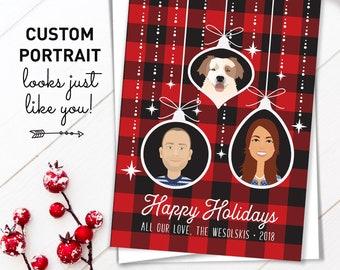 Custom Family Portrait Christmas Card, Buffalo Plaid Holiday Cards, Custom Cartoon Portrait with Pet, Rustic Christmas Cards Printed
