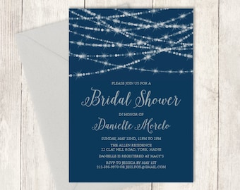 Elegant Bridal Shower Invitation DIY / Festive Bokeh String Light Sparkle / Navy and Silver  ▷ Printed Heavy Paper {or} Printable