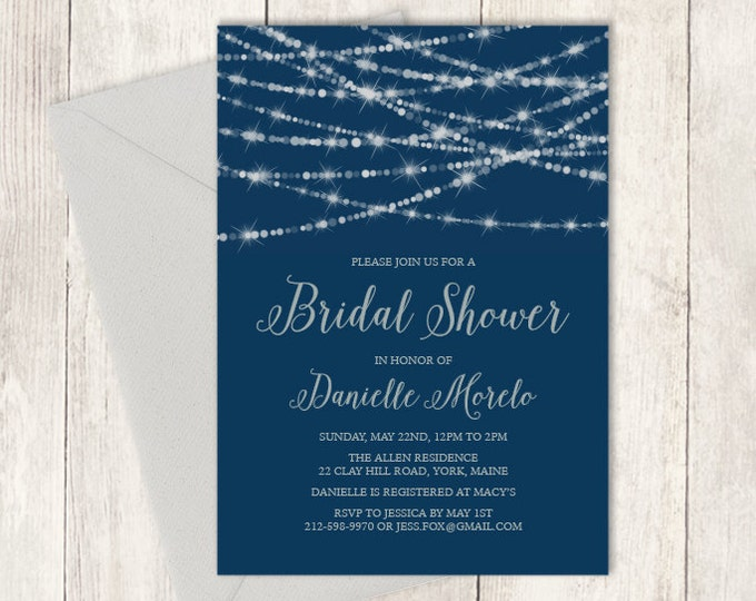 Elegant Bridal Shower Invitation DIY / Festive Bokeh String Light Sparkle / Navy and Silver  ▷ Printed Heavy Paper {or} Printable
