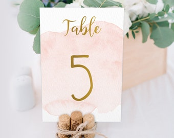 Gold and Blush Table Numbers > Pink blush watercolor wedding table cards with calligraphy • Printed, double-sided cards for boho wedding