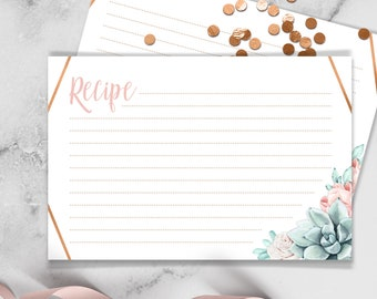 Succulent Recipe Card / Blush Flower Succulent Bouquet Faux Metallic Copper Watercolor Cactus ▷ Printed Recipe Cards {or} Printable