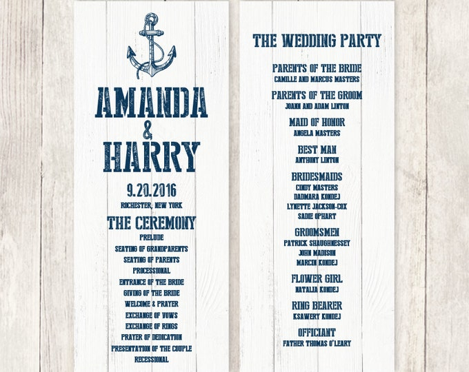 Nautical Wedding Program / Nautical Planks, Navy Anchor / Stamped Lettering / Bridal Party, Schedule ▷ Printable File {or} Printed & Shipped
