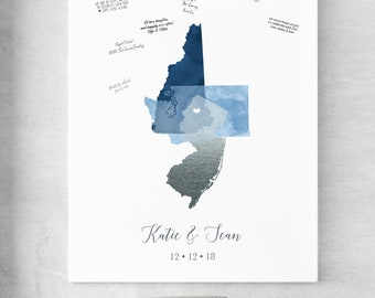 Nautical Guest Book Alternative Canvas, Custom Map Guest Book for Celestial Star Wedding, Navy and Silver Wedding Sign In