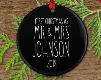 First Married Christmas as Mr and Mrs, Rustic Farmhouse Ornament, Modern Minimalist Decor, Couple Wedding Gift Idea, Black and White