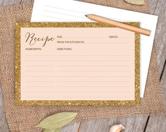 gold sparkle glitter card gold and coral peach 4x6 recipe card diy bridal shower card kitchen shower printable pdf instant download