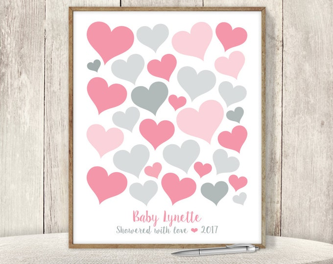 Pink Guest Book Alternative Poster / Baby Shower Sign In / Pink and Gray Hearts / Heart Baby Girl ▷ Printable File {or} Printed & Shipped