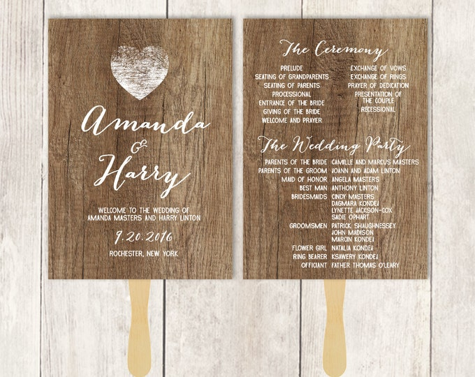 Rustic Wedding Program Fan DIY / Distressed Rustic Wood, Heart / Bridal Schedule, Ceremony ▷ Printable {or} Printed *** ASSEMBLY REQUIRED