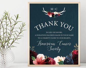 Rustic Charity Sign, Burgundy Navy Boho Wedding Thank You Sign, In Lieu of Favors Canvas Sign > PRINTED Sign for Wedding {or} Printable Sign