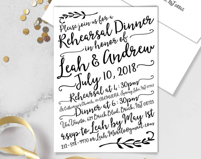 Boho Calligraphy Rehearsal Dinner Invitation / Modern Romantic Invite / Neutral Black & White Monochrome ▷Printed Invitations {or} Printable