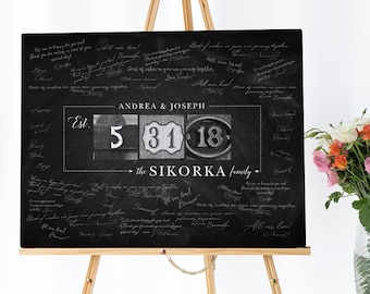 Guest Book Alternative, Rustic Guest Book Wedding Canvas, Family Established Date Print, Black and White & Chalkboard