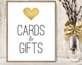 Cards And Gifts / Gift Table Sign DIY / Yellow Gold Heart, Watercolor Heart Sign / Printable PDF Wedding Sign ▷ Instant Download