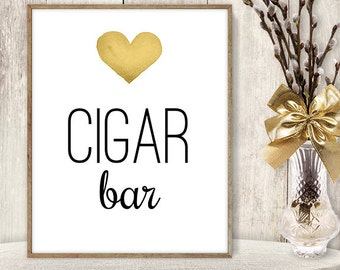 Cigar Bar Sign // Watercolor Wedding Cigar Sign DIY // Gold Heart, Watercolor Heart Sign, Printable PDF Poster ▷ Instant Download