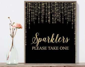 Sparklers Sign DIY / Elegant Gold Wedding Sign / Great Gatsby, Bokeh String Light / Black and Gold Calligraphy ▷ Instant Download JPEG