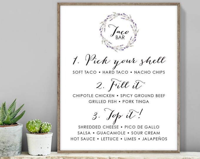 Floral Taco Bar Sign / Tacos Sign / Rustic Lavender Wreath Flower, Twig ▷ Printable File {or} Printed & Shipped