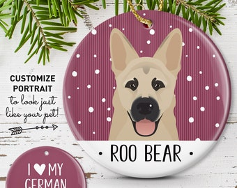 German Shepherd Christmas Ornament, Unique Ornament with Custom Pet Cartoon, Personalized Gift for Dog Parents