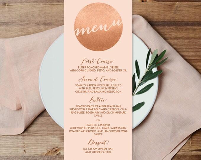 Rose Gold Sparkle Wedding Menu Card / Metallic Rose Gold Glitter Circle on Coral Background Menu ▷ Printable File {or} Printed & Shipped