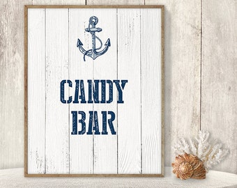 Candy Bar Sign // Wedding Reception Dessert Sign DIY // Nautical Sign, Navy Anchor Printable PDF // Nautical Planks ▷ Instant Download