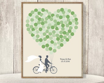 Wedding Guest Book Alternative Poster / Green Balloon Heart, Couple on Tandem Bike Wedding Sign ▷ Printable File {or} Printed & Shipped