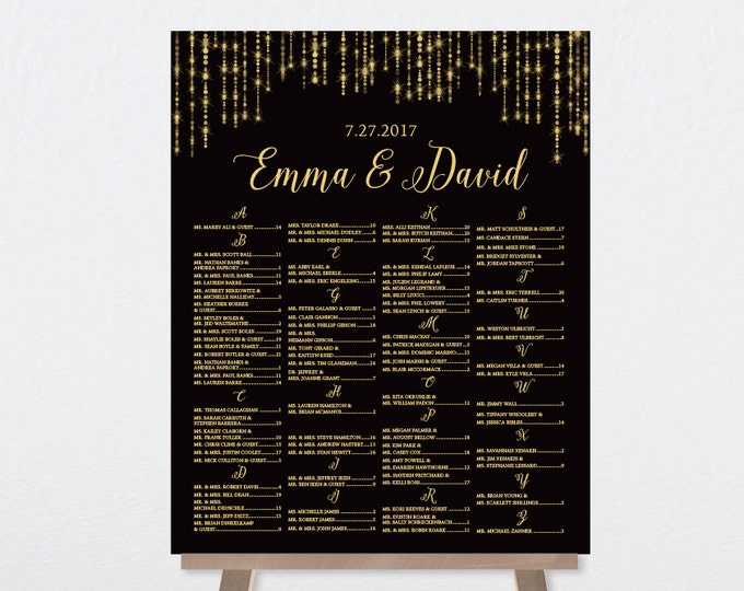 Alphabetical Seating Chart Sign / Great Gatsby Bokeh String Light / Black and Gold / Seating Sign ▷ Printable File {or} Printed & Shipped