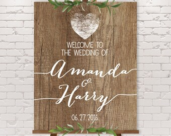 Rustic Wedding Welcome Sign / Rustic Welcome / Rustic Wood Sign, White Calligraphy / Custom Sign ▷ Printable File {or} Printed & Shipped