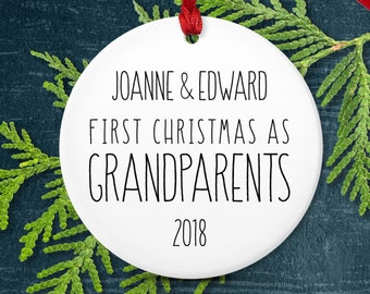 First Christmas as Grandparents Ornament, Minimalist Christmas Black and White Decor, New Grandparent Gift from Grandchild Keepsake Rustic
