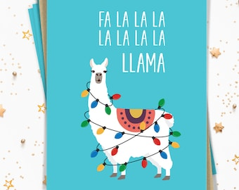 Llama Christmas Card Set, Funny Notecard Set of 15 Cards with Envelopes, Turquoise Blue Llama Holiday Note Cards Printed (or Printable)