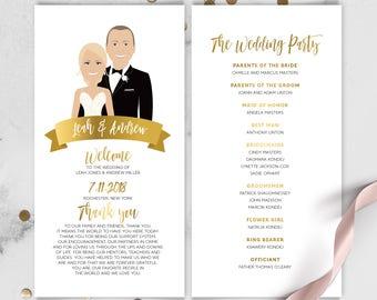 Portrait Wedding Program, Schedule / Faux Metallic Gold, Wedding Welcome, Illustration Cartoon Couple Portrait ▷Printed Program or Printable
