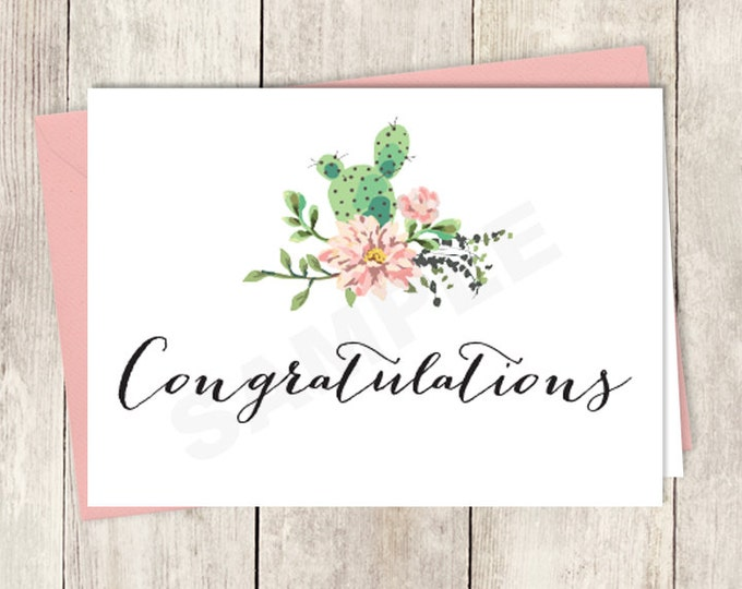 Rustic Congratulations Card DIY Printable / Wedding Card / Cactus Succulent, Coral Flower Wreath Fiesta ▷ Instant Download