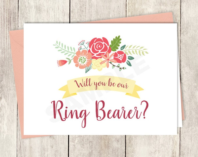 Will you be Our Ring Bearer Card DIY Printable / Wedding Rustic Flower Charm / Bright Pink, Red, Yellow Wildflowers ▷ Instant Download