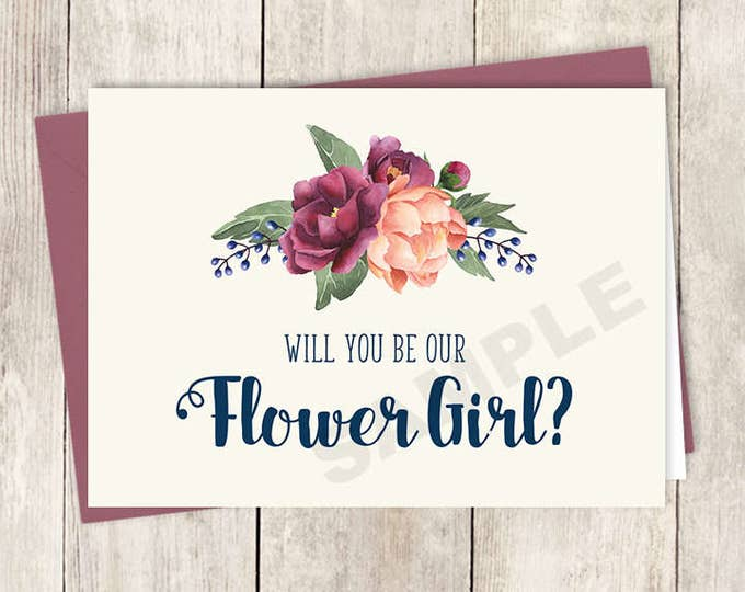 Will You Be My Flower Girl Card DIY Printable / Burgundy Peony Berry Bouquet, Peach Blush Pink Ranunculus, Fall ▷ Instant Download PDF