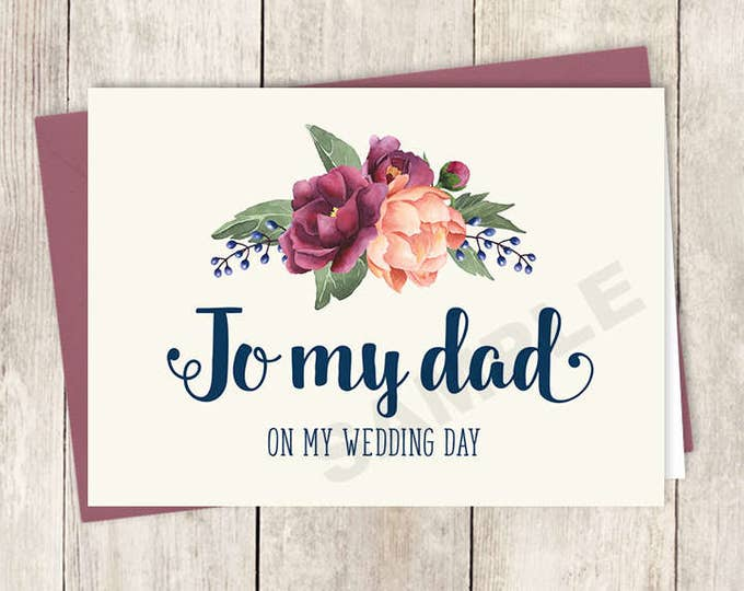 To My Dad Card DIY Printable, On My Wedding Day / Burgundy Peony Berry Bouquet, Peach Blush Pink Ranunculus, Fall ▷ Instant Download PDF