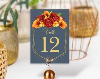 Harvest Table Numbers, Wedding Table Name 5x7s for Fall Wedding, Red Rose Flower, Orange Calla Lilly, Gold Geometric > PRINTED, Double-Sided