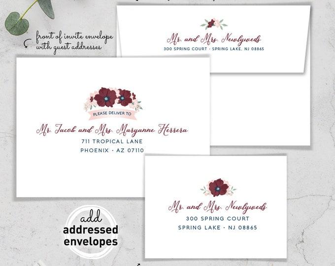 Envelope Addressing / Custom Crest Envelopes / Guest Addresses / Return Address Printing / Addressed Envelope Addressing / Blush and Marsala