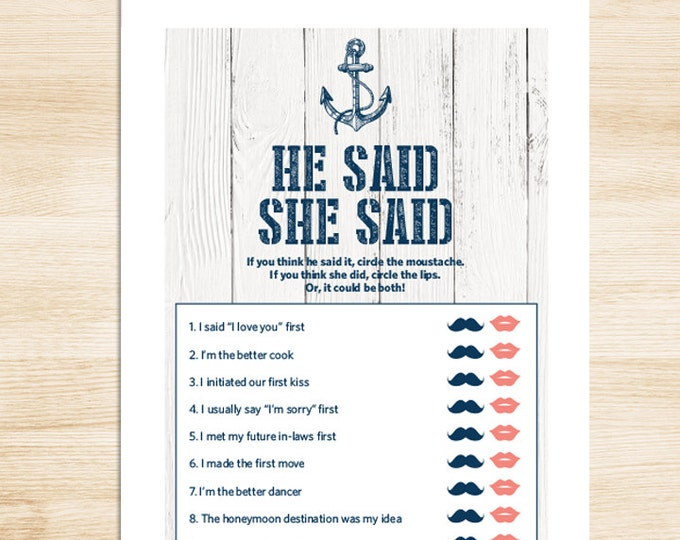 Nautical Bridal Shower Game DIY // Nautical Card, Navy Anchor // He Said, She Said Printable PDF // Wedding Shower Game ▷ Instant Download