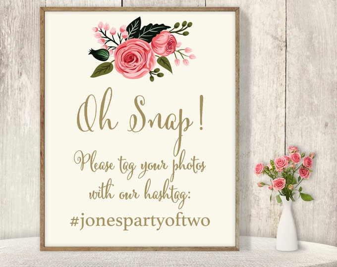 Wedding Hashtag Sign / Instagram Sign / Watercolor Rose Flower, Gold Calligraphy, Pink Rose ▷ Printable File {or} Printed & Shipped