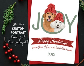 Dog Holiday Card > Custom Pet Portrait Christmas Cards, Two Dogs,  Xmas Card, Cute Dog Holiday Card for Dog Parents