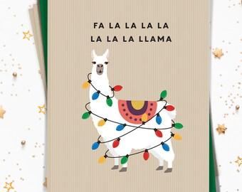 Llama Christmas Card Set, Funny Notecard Set of 15 Cards with Envelopes, Rustic Llama Holiday Note Cards Printed (or Printable)