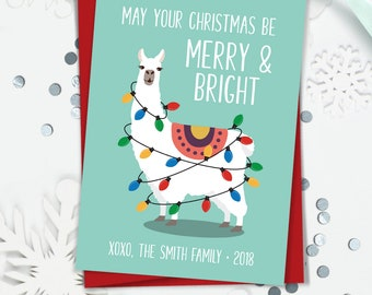 Llama Christmas Card, Funny Christmas Cards with Llama Illustration, Personalized Holiday Card, Printed or Printable Cards