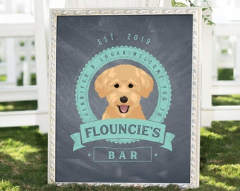Pet Bar Print > Custom Dog Portrait with Personalized Logo for Wedding Bar, Mint and Gray Rustic Chalkboard Canvas