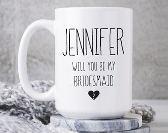 Bridesmaid Proposal Mug, Will You Be My Bridesmaid? Personalized Gift, Black & White Minimalist Coffee Mug, Custom Name Bridal Party Favor