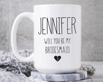 Bridesmaid Proposal Mug, Will You Be My Bridesmaid? Personalized Gift, Black & White Minimalist Coffee Mug, Custom Name Bridal Party Favor