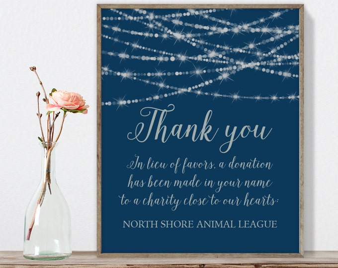 Wedding Thank You Sign / Favors Charity Donation / Festive Bokeh String Light Sparkle / Navy Silver ▷ Printable File {or} Printed & Shipped