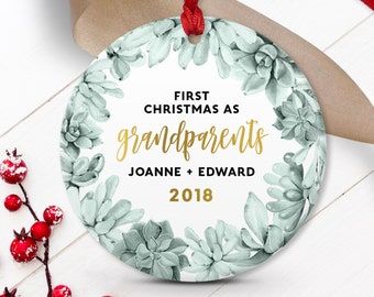 New Grandparents Ornament, Succulent Christmas Decor, New Grandparent Gift from Grandchild Keepsake, Gold and Green Succulent